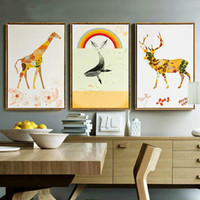 Wholesale Craft Mirrors Wholesale - Giraffe Framed Art Oil Painting Canvas Wall Art Waterproof Airbrush Wall Art Picture Painting Home Crafts Decor With Frame