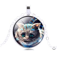 Wholesale Cheshire Cat Necklaces - Wholesale-Christmas Jewelry Silver   Bronze Plated Cheshire cat Glass Cabochon Pendant Necklace for Unisex