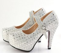 Wholesale Crystal Diamond Wedding Heels - wholesaler free shipping new style dress diamond platform club super high heels big size rhombus crystal diamond wedding shoes052