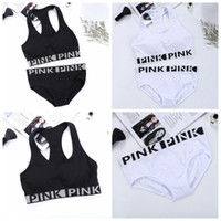 Wholesale Girl Wear Bra - PINK Tracksuit Women Yoga Suit Summer Sport Wear Fitness Bra Briefs Gym Top Vest Panties Running Underwear Sets With Chest Pad OOA2908