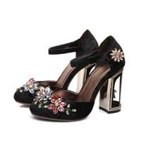 Wholesale spool toes for sale - Black Velvet Retro Crystal Round Toe Women Shoes Luxury Metal String Bead Wedding Shoes Hoop Loop Colorful Rhinestone Ladies Party Shoes