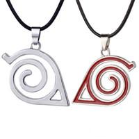 Wholesale Konoha Pendant - Anime Naruto Konoha ninja silver sign badge pendant necklace fashion Naruto jewelry for women men gift 161116
