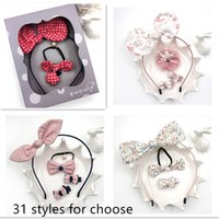 Wholesale Gift Box Bows Wholesale - Gift box packing hair accessories set knot bow hair stick hairband Barrettes suit rabbit ear hair tie birthday gift Girls
