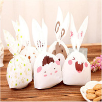 Wholesale Adhesive Laser Paper - 14*23cm Cute Rabbit Ear Cookie Bags Self-adhesive Plastic Bags for Biscuits Snack Baking Package Food Bag Party Supplies 20pcs=1 lot