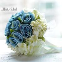 Wholesale Chinese Throw - Elegant Fabric Cream Ivory Blue Rose Bridal Bouquet Handflower Bridal Throw Flower Bridesmaid Bouquet Decoration Wedding Flower with Ribbon