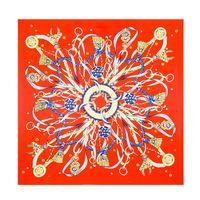 Wholesale Silk Bohemia - fashion 2017 summer 100% silk women's luxury brand designer scarves Bohemia Tassel pendant scarves print silk scarf red blue 100*100cm-G047