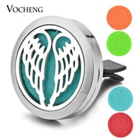Wholesale Vent Air Freshener - Car Perfume Diffuser Locket Vent Clip 316L Stainless Steel Pendant Car Air Freshener Magnetic Angel Wings without Felt Pads VA-311