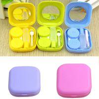 Wholesale Blue Contacts Lenses - Portable Cute Pocket Mini Contact Lens Case Travel Kit Mirror Container 5Colors