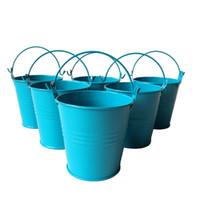 cubos de lata azul al por mayor-D7.5 * H7.5CM azul profundo Metal mini Cubo cubo de la lata Rústico Succlents Ollas Decorativo Galvanizado Carne planta olla Hierro ollas