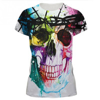черепа футболки женские оптовых-Wholesale-New 2016 Summer fashion Harajuku 3D tshirt Weird Skull Printed Colorful T-shirt Womens t shirts Casual Tees Tops Punk Rock Style