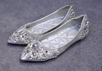 Wholesale Silver Charm Ballet - 2017 new style bridal crystal shoes bridesmaid dresses shoes solid color pointed flat shoes Large size free shipping