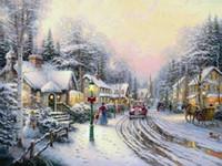 Wholesale Cheap Christmas Painting - New Printed Thomas Kinkade Village Christmas Cheap Canvas Print Oil Painting, canvas art ,Wall Art Canvas Painting Unframed