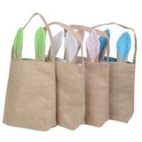 Wholesale Jute Handbags - DHL shipping NEW design Cotton Linen Canvas Easter Egg Bag Rabbit Bunny Ear Shopping Tote bags kids children Jute Cloth gift Bags handbag