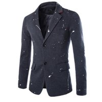 Wholesale Splash Suit - Wholesale- High quality Brand Clothing Blazers Men suits Slim Fit printed ink splashes Costume Homme Jacket Masculine Casual Blazer coats