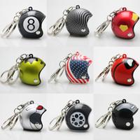 Wholesale Helmet Keyring - 32 Styles Motorcycle Helmets Key Chain Ring Holder - Cute Safety Helmet Hat Car Keychain Keyring - Bags Pendant Gift Fashion Jewelry