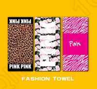 Wholesale Wholesale Sports Swimwear - Pink Letter Beach Towel 140*70cm Fitness Sports Towel VS Bath Towel Leopard Flower Swimwear Bathroom Towels 22 styles OOA1257