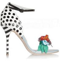 femmes sandales à pois achat en gros de-SexeMara 2017 Multicolore Fleur Lady Corsage Sandales Mode Femmes Gladiator Talons Chaussures Adorable Polka-Dot Spotted talon