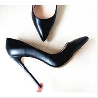 Wholesale matte dresses - Luxury Brand Red Bottom Pointed Pumps Woman Black High-heeled Stilettos Shoes For Women Black 12CM High Heels Matte Leather Wedding Shoes