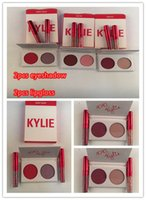 Wholesale Gif Sets - In stock Kylie Valentines Lipstick + Eyeshadow palette Kyshadow Duos Kylie Jenner Eye shadow 2 Color Eye Shadow with lipgloss Valentine Gif