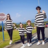 Wholesale Couple Outfit Clothing - Family matching look Striped T shirt long sleeve pullover couples dress parent-child clothes family spring outfits 4colors