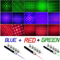 Puissant 5mw 532nm 6 en 1 Green Blue Red Pointeur laser Beam Light Lazer Pen 5 Caps Livraison gratuite
