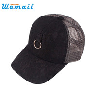 Wholesale Lace Snapback - Wholesale- Womail embroidery snapback hats women summer Mesh sun hat lace baseball cap touca feminina #20 Gift 1pc