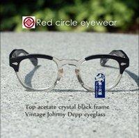 Wholesale Eyeglass Frames Crystal - Vintage Johnny Depp Eyeglasses Frame Mens Women Oval Frame Glasses Blonde and Crystal Black Acetate RX Optical Eyewear S M L