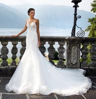 Wholesale Exclusive Bridal Dresses - Lustrous exclusive lace mermaid bridal wedding gowns 2017 Milla Nova bridal dresses sweetheart necklin long train