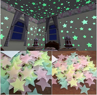 Big Kids Pink Plastic LESUPERAY 100pcs bag 3CM Fashion Wonderful Solid Stars Glow in the Dark Kid's Bedroom Corridor Ceiling FluoresceDecoration Adesivo De Parede