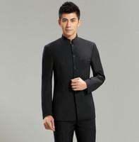 coleiras de terno tradicionais venda por atacado-Atacado- Chinoiserie Suit Jacket Slim Fit gola mandarim tradicional roupa de alta qualidade 2017 New Moda Casacos de casamento masculinos