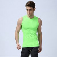 Wholesale Men Spandex Models - New green orange, summer sleeveless vest comfortable stretch running sports clothing new men models