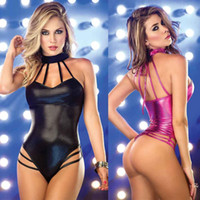 Wholesale Christmas Stripper Costumes - Women Sexy lingerie Jumpsuits Sleeveless Dress Clubwear Stripper Patent leather Underwear Exotic Bodysuits