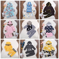 Wholesale Infant Leopard Coat - Children Ins Xmas Spring Striped Hoodies Sets Boys Girls Outfits Infant Leopard Chevron Floral Coat T-shirt Girls Striped Short Pants F389