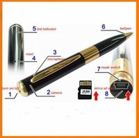 Wholesale Cheapest Hidden Cameras - Cheapest Mini Hidden Pen Camera Cam Support video voice recorder Silver and Gold Color Optional Free shipping