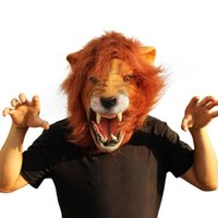 Wholesale Latex Lion Mask - Wholesale- Halloween Props Adult Angry Lion Head Masks Animal Full Celebrity Party Fancy Classic Cosplay Latex Lion Mask