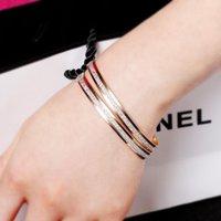 ingrosso braccialetti di fascia gialla-Moda donna oro giallo placcato doppio cerchio braccialetto braccialetto fascino gioielli regalo smalto opaco braccialetti polsino gioielli polsino bracciali braccialetti
