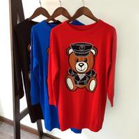 Wholesale Woman Winter Wool Dress - 2017 winter new women's fashion luxury cartoon bear long-sleeved sweaters dresses