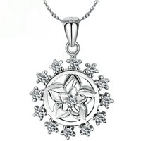 Wholesale Gardenia Flower Plant - 925 Sterling Silver Jewelry Gardenia Zircon Pendant for wedding Christmas birthday gift Not Include The Chain