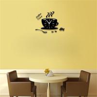 mur regarder silencieux achat en gros de-Horloge murale design gros-moderne forme de tasse de café 3D bricolage grandes horloges murales aiguille silencieuse regarder 3D relogio de parede pour le salon