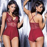 Wholesale Hot Women Porn - 4 Color Lenceria Sexy Teddy Lingerie Women Hot Lace Open Crotch Erotic Plus Size Lingerie Porn Adult Sex Underwear