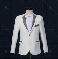 Wholesale men s grooming set - Paillette stage clothing for men suit set with pants 2017 mens wedding suits costume groom formal dress singer star style dance