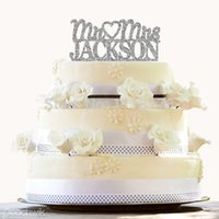 Vente en gros - coeur en argent Mr et Mme Topper Glitter Wedding Cake Topper Design Custom Last Name Wedding Cake Topper