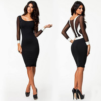 Wholesale Party Works - Wholesale-Fashion Autumn Winter Women's Dresses Long Sleeve Bandage Bodycon Pencil Party Dress Work Wear Midi Office Dress Vestidos