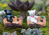 ingrosso ornamenti giardino gatti-2 pz Albero sgabello gatto Decorativo piante in vaso miniaturas para mini jardins bonsai terrario figurine fata giardino ornamenti casa