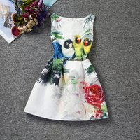 Wholesale DRESS girls clothing latest European style bird and flower girl dresses hot sale cute baby summer dress free DHL