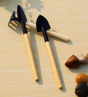 ingrosso mini rastrelli di legno-3Pcs / Set Mini Garden Hand Tool Kit Impianto Giardinaggio Pala Spade Rastrello Cazzuola Manico in legno Metal Head Gardener