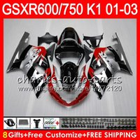 Wholesale Gsxr K1 Fairing - 8 Gifts 23 gloss black Colors Body For SUZUKI GSX-R600 GSXR600 GSXR750 01 02 03 8HM5 GSX R600 R750 K1 GSXR 750 600 2001 2002 2003 Fairing