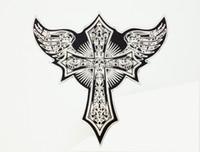 chaqueta de alas de angel al por mayor-Parche bordado Cráneo Ala Cruzada Motocicleta Ángel Hecho A Mano de Hierro Bordado Parches Apliques Volver Parches Para Chaquetas