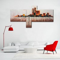 Wholesale Frames For Contemporary Oil Paintings - Canvas Prints City Landscape 100% hand painted Oil Painting 4 Panels Contemporary Abstract Wall Art with Framed Ready to Hang for Home Decor