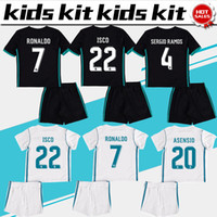Wholesale Football Shirt Kids Kit - 2018 Kids Kit Real Madrid Football Jersey 2017 18 Home White Away black Boy Soccer Jerseys Ronaldo Bale ASENSIO ISCO Child Soccer Shirts